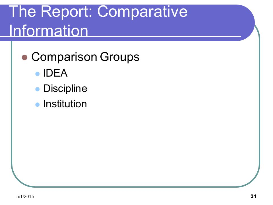 5/1/2015 31 The Report: Comparative Information Comparison Groups IDEA Discipline Institution