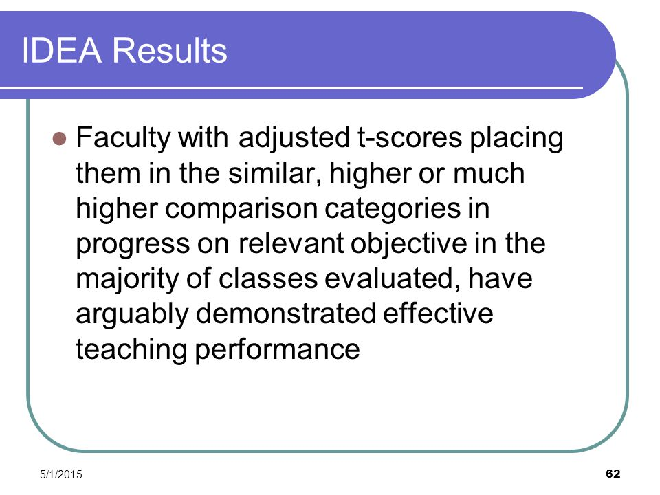 5/1/2015 62 IDEA Results Faculty with adjusted t-scores placing them in the similar, higher or much higher comparison categories in progress on relevant objective in the majority of classes evaluated, have arguably demonstrated effective teaching performance