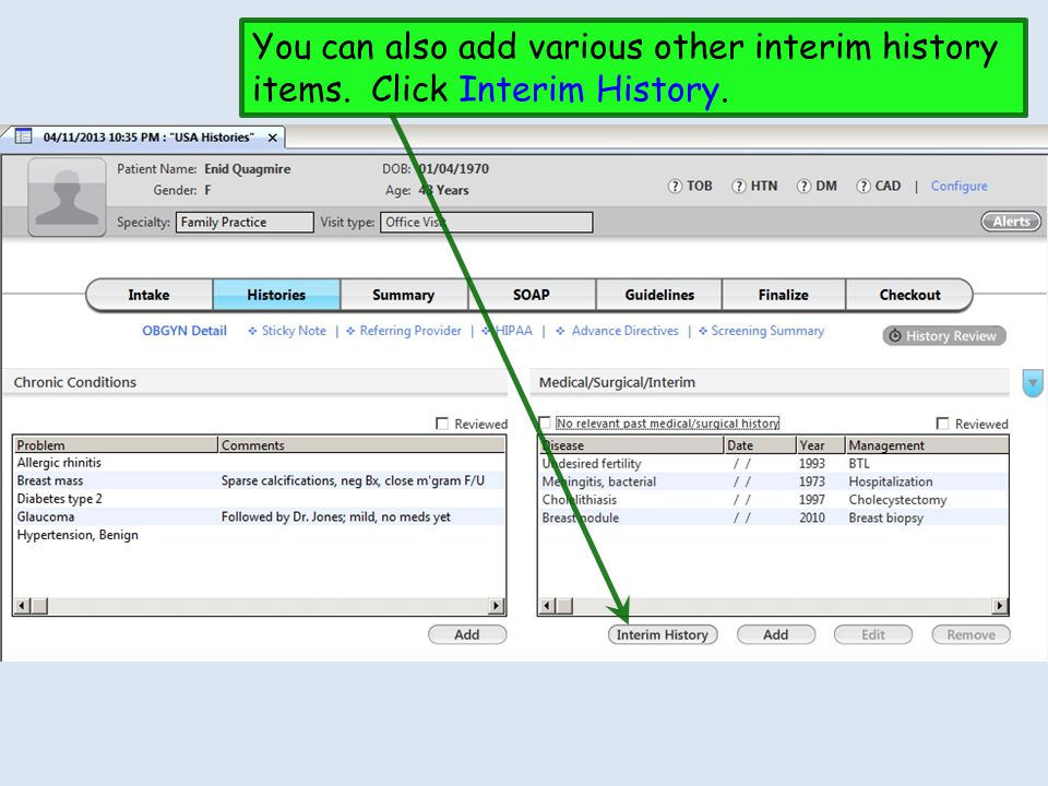 You can also add various other interim history items. Click Interim History.
