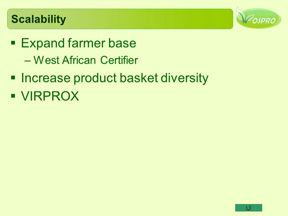 Scalability  Expand farmer base –West African Certifier  Increase product basket diversity  VIRPROX
