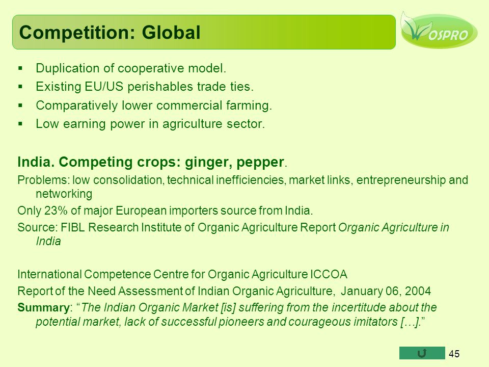 Competition: Global  Duplication of cooperative model.  Existing EU/US perishables trade ties.  Comparatively lower commercial farming.  Low earni