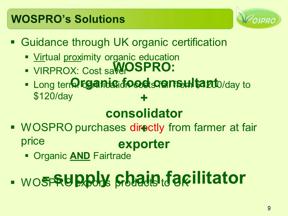 9 WOSPRO's Solutions  Guidance through UK organic certification  Virtual proximity organic education  VIRPROX: Cost saver  Long term: certification costs fall from $1200/day to $120/day  WOSPRO purchases directly from farmer at fair price  Organic AND Fairtrade  WOSPRO exports products to UK WOSPRO: Organic food consultant + consolidator + exporter = supply chain facilitator