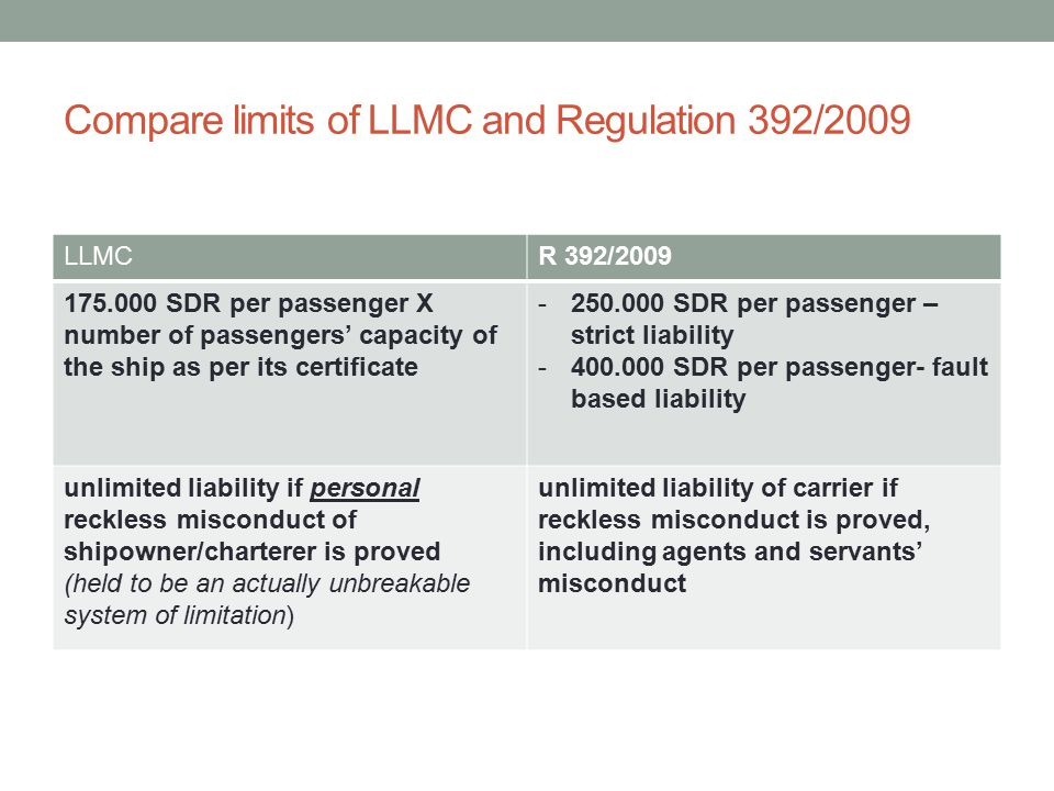 Compare limits of LLMC and Regulation 392/2009 LLMCR 392/2009 175.000 SDR per passenger X number of passengers' capacity of the ship as per its certificate -250.000 SDR per passenger – strict liability -400.000 SDR per passenger- fault based liability unlimited liability if personal reckless misconduct of shipowner/charterer is proved (held to be an actually unbreakable system of limitation) unlimited liability of carrier if reckless misconduct is proved, including agents and servants' misconduct