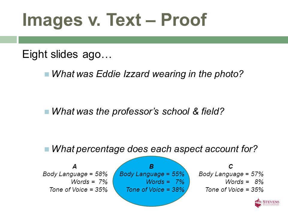 Images v.Text – Proof Eight slides ago… What was Eddie Izzard wearing in the photo.