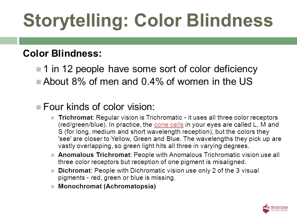 Storytelling: Color Blindness Color Blindness: 1 in 12 people have some sort of color deficiency About 8% of men and 0.4% of women in the US Four kinds of color vision: Trichromat: Regular vision is Trichromatic - it uses all three color receptors (red/green/blue).