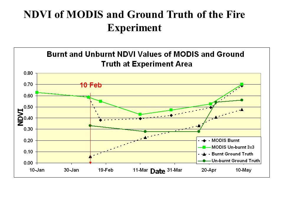 NDVI of MODIS and Ground Truth of the Fire Experiment 10 Feb