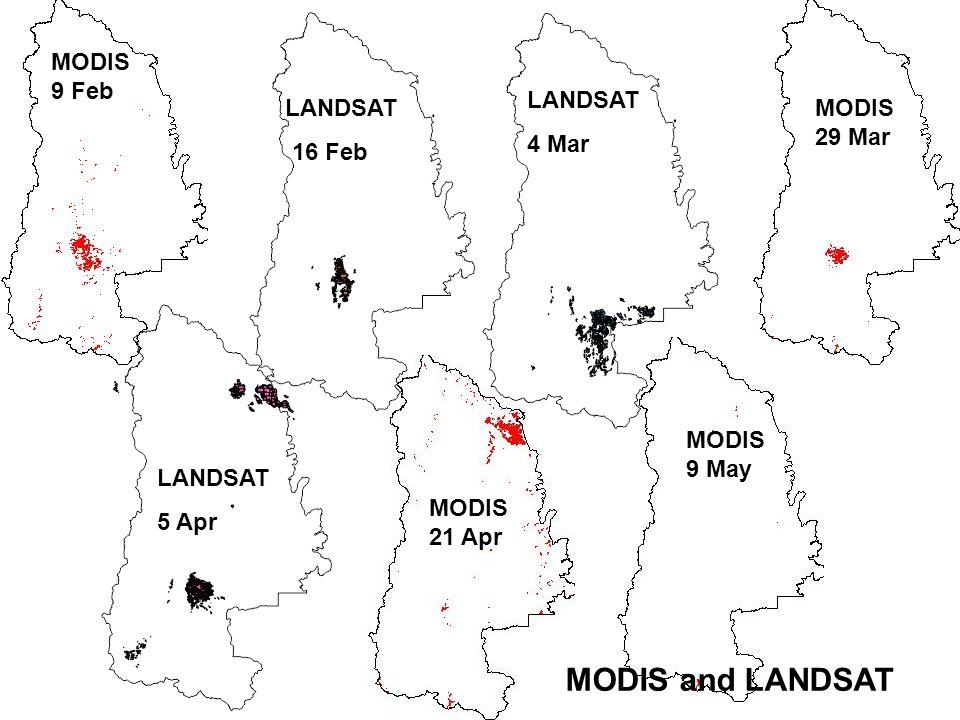 MODIS 9 Feb MODIS 21 Apr MODIS 9 May LANDSAT 16 Feb LANDSAT 4 Mar LANDSAT 5 Apr MODIS and LANDSAT MODIS 29 Mar