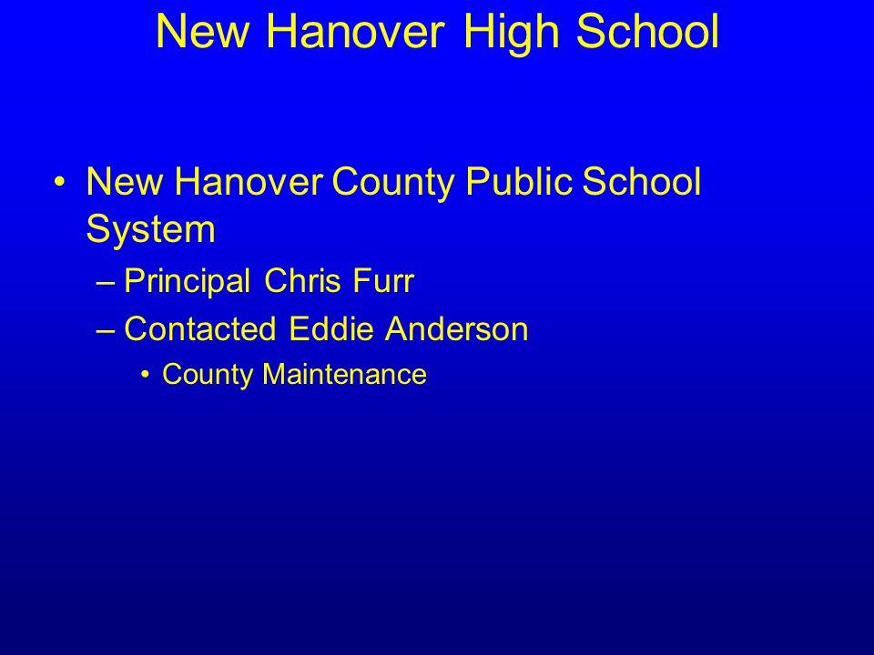 New Hanover High School New Hanover County Public School System –Principal Chris Furr –Contacted Eddie Anderson County Maintenance