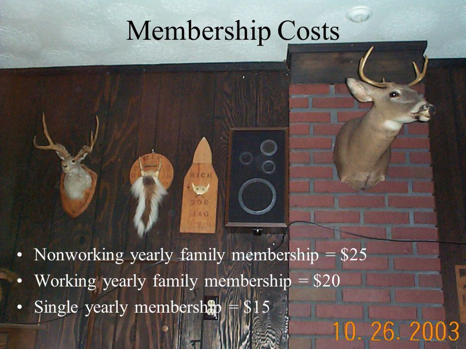 Membership Costs Nonworking yearly family membership = $25 Working yearly family membership = $20 Single yearly membership = $15