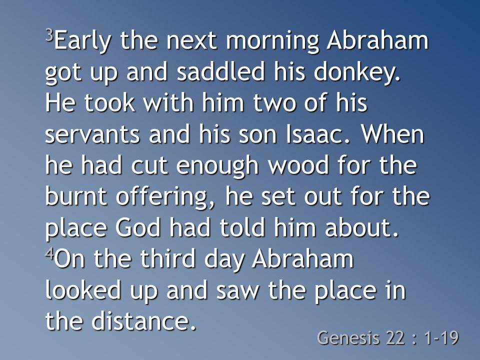 3 Early the next morning Abraham got up and saddled his donkey.
