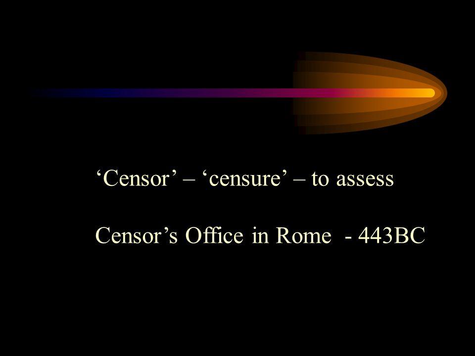 'Censor' – 'censure' – to assess Censor's Office in Rome - 443BC