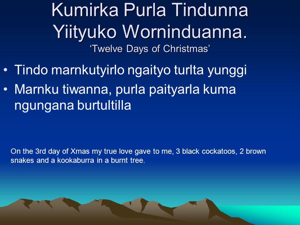 Kumirka Purla Tindunna Yiityuko Worninduanna.