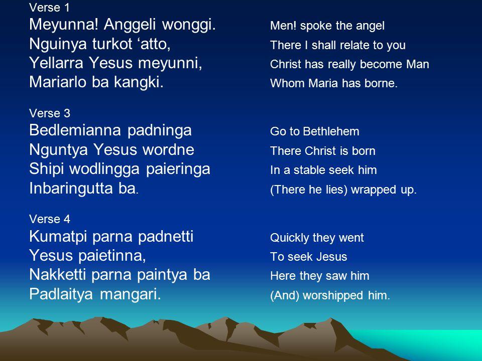 Verse 1 Meyunna. Anggeli wonggi. Men.