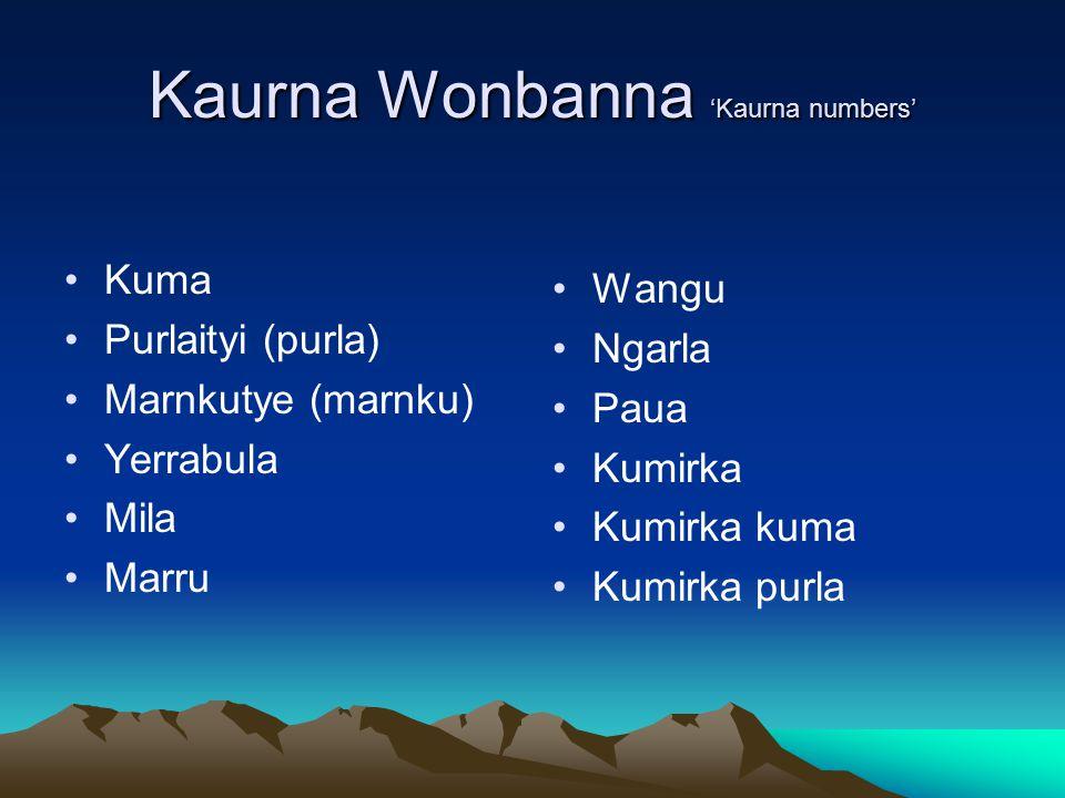Kaurna Wonbanna 'Kaurna numbers' Kuma Purlaityi (purla) Marnkutye (marnku) Yerrabula Mila Marru Wangu Ngarla Paua Kumirka Kumirka kuma Kumirka purla