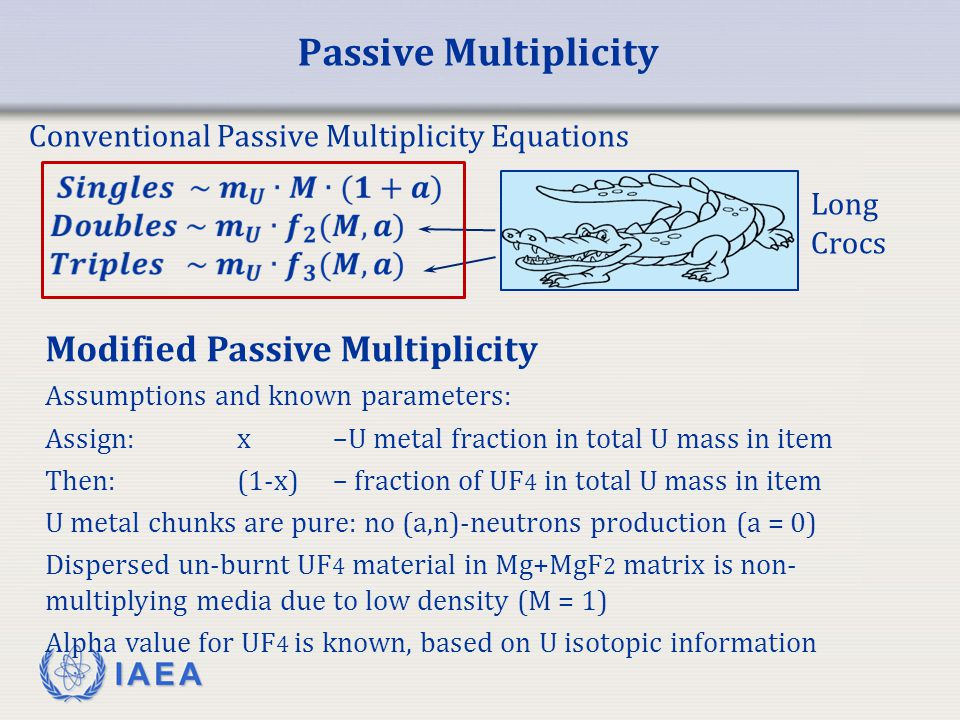 IAEA Modified Passive Multiplicity M – multiplication in the metal chunks x –U metal fraction in total U mass in item m U – total U mass in measured item U metal term UF 4 term Corrects for non-uniform distribution of multi-component Uranium material Determines total Uranium mass in measured item Determines U mass in metal and UF 4 form Determines neutron Multiplication in metal phase (gives information on average metal chunks size)