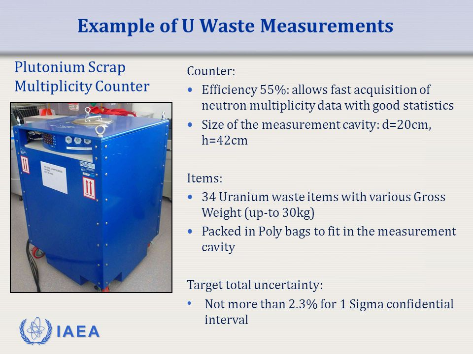 IAEA Example of U Waste Measurements Plutonium Scrap Multiplicity Counter Counter: Efficiency 55%: allows fast acquisition of neutron multiplicity dat
