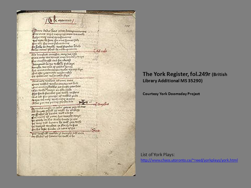The York Register, fol.249r (British Library Additional MS 35290) Courtesy York Doomsday Project List of York Plays: http://www.chass.utoronto.ca/~reed/yorkplays/york.html