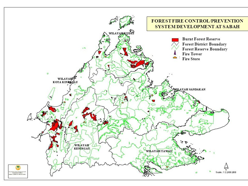 FOREST FIRE CONTROL/PREVENTION SYSTEM DEVELOPMENT AT SABAH Burnt Forest Reserve Forest District Boundary Forest Reserve Boundary Fire Tower Fire Store
