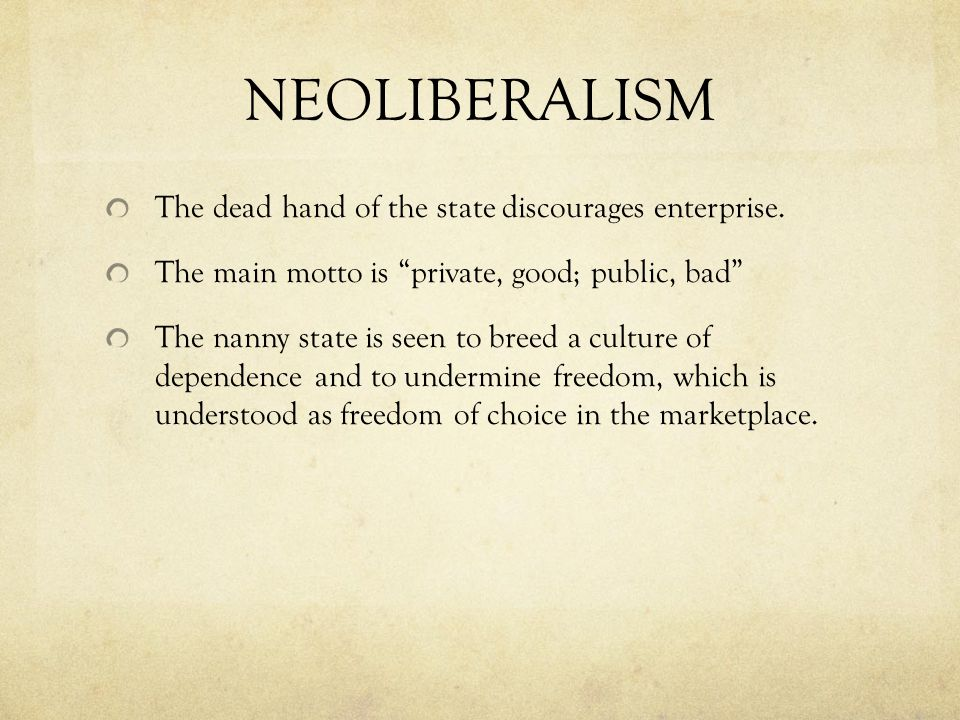 NEOLIBERALISM The dead hand of the state discourages enterprise.