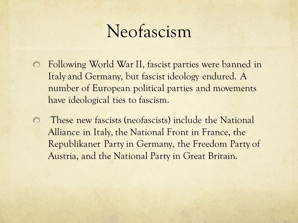 Neofascism Following World War II, fascist parties were banned in Italy and Germany, but fascist ideology endured.