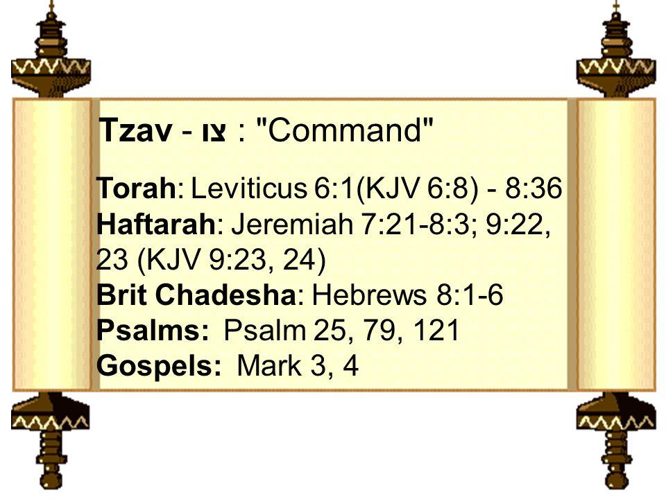 Torah: Leviticus 6:1(KJV 6:8) - 8:36 Haftarah: Jeremiah 7:21-8:3; 9:22, 23 (KJV 9:23, 24) Brit Chadesha: Hebrews 8:1-6 Psalms: Psalm 25, 79, 121 Gospels: Mark 3, 4 Tzav - צו : Command