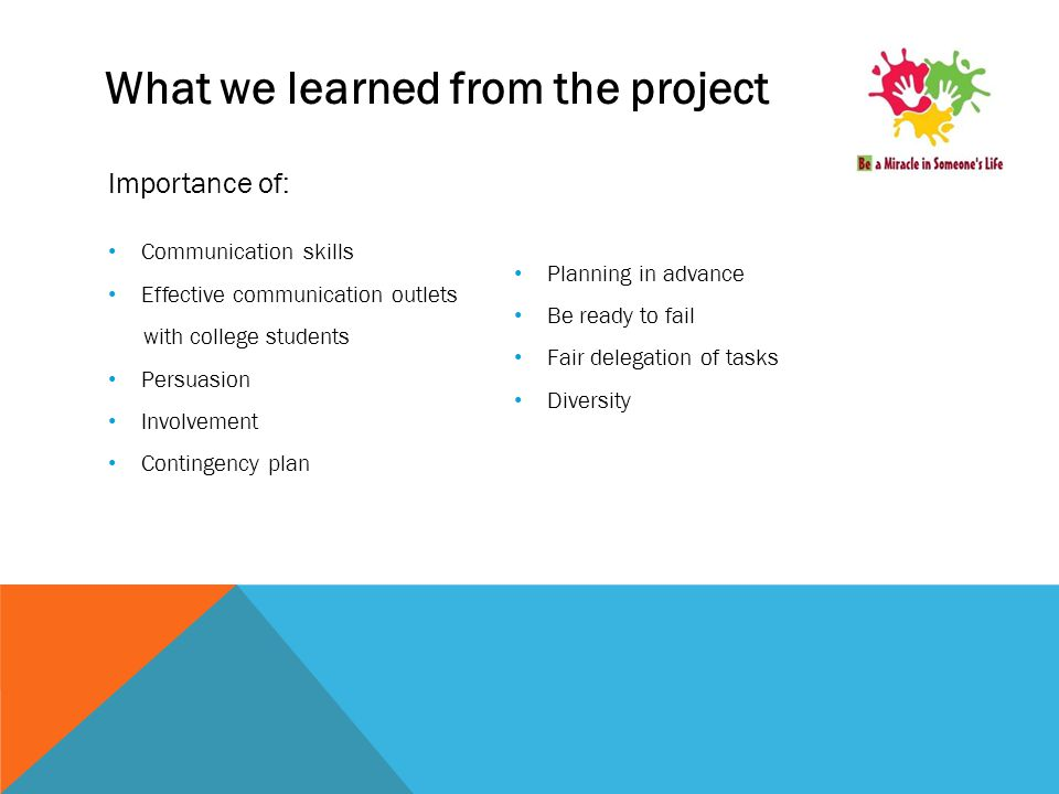 What we learned from the project Importance of: Communication skills Effective communication outlets with college students Persuasion Involvement Contingency plan Planning in advance Be ready to fail Fair delegation of tasks Diversity