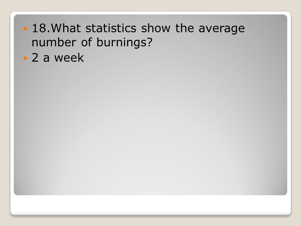 18.What statistics show the average number of burnings 2 a week