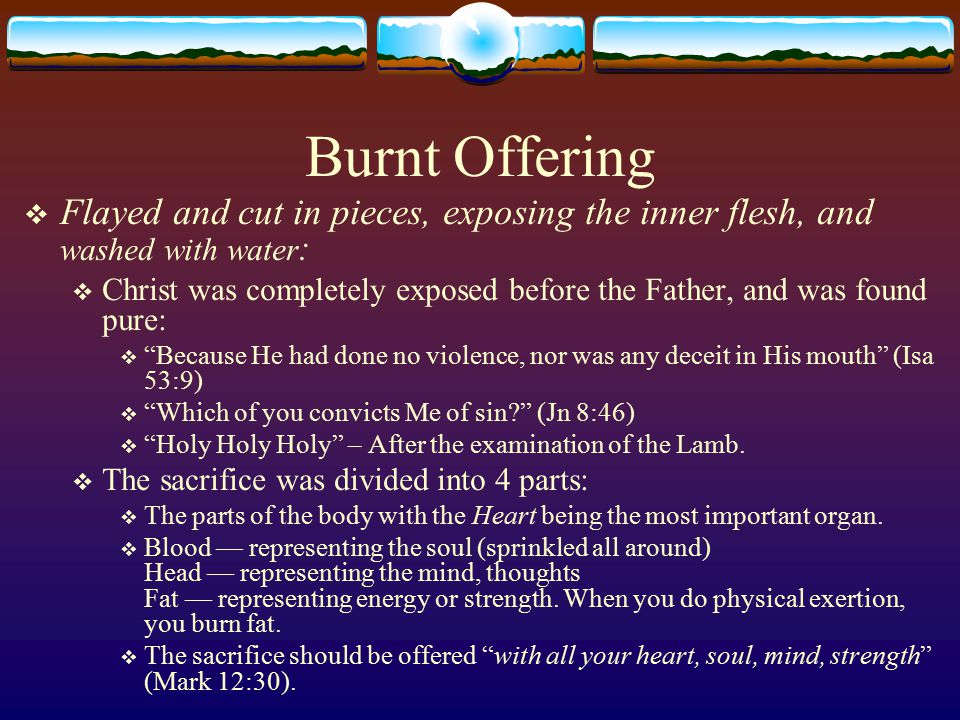 Burnt Offering  Flayed and cut in pieces, exposing the inner flesh, and washed with water :  Christ was completely exposed before the Father, and was found pure:  Because He had done no violence, nor was any deceit in His mouth (Isa 53:9)  Which of you convicts Me of sin (Jn 8:46)  Holy Holy Holy – After the examination of the Lamb.