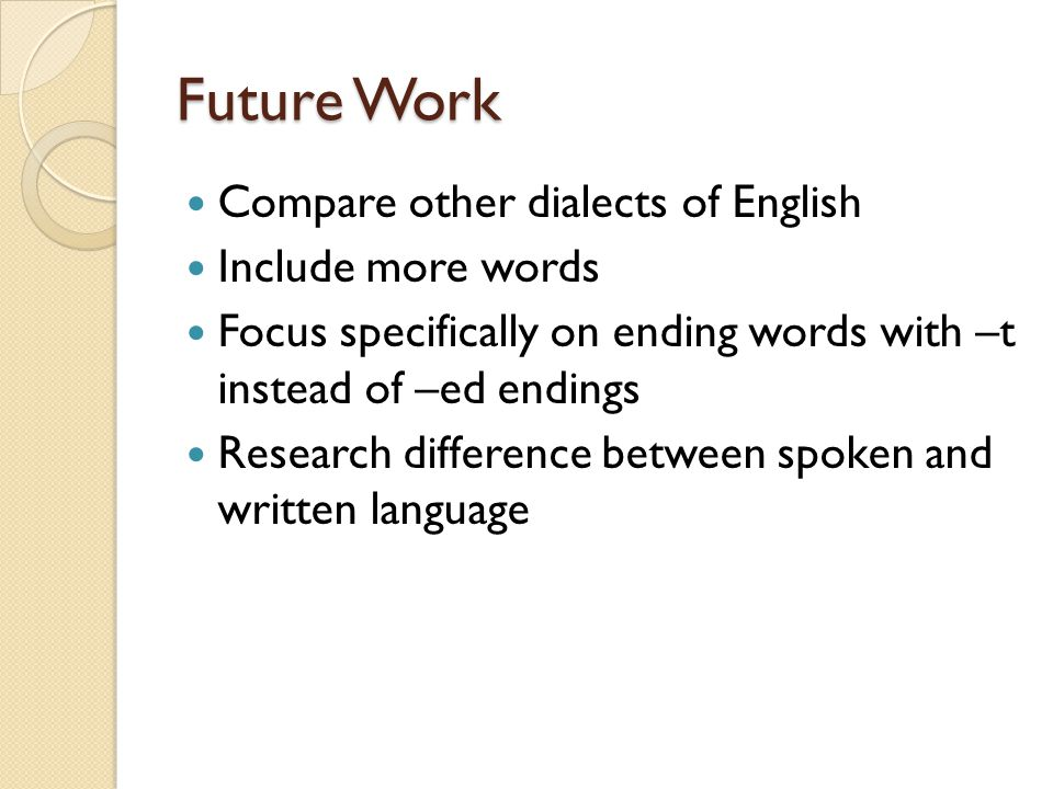 Future Work Compare other dialects of English Include more words Focus specifically on ending words with –t instead of –ed endings Research difference between spoken and written language