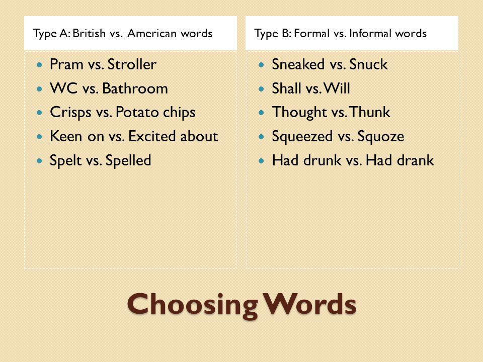 Choosing Words Type A: British vs. American wordsType B: Formal vs. Informal words Pram vs. Stroller WC vs. Bathroom Crisps vs. Potato chips Keen on v