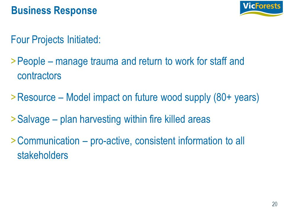 20 Business Response Four Projects Initiated: >People – manage trauma and return to work for staff and contractors >Resource – Model impact on future wood supply (80+ years) >Salvage – plan harvesting within fire killed areas >Communication – pro-active, consistent information to all stakeholders