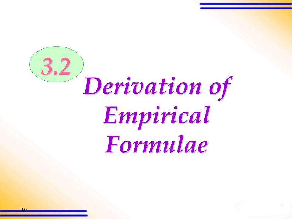9 3.1 Formulae of compounds (SB p.44) CompoundEmpirical formula Molecular formula Structural formula Carbon dioxide CO 2 O = C =O WaterH2OH2OH2OH2O Me