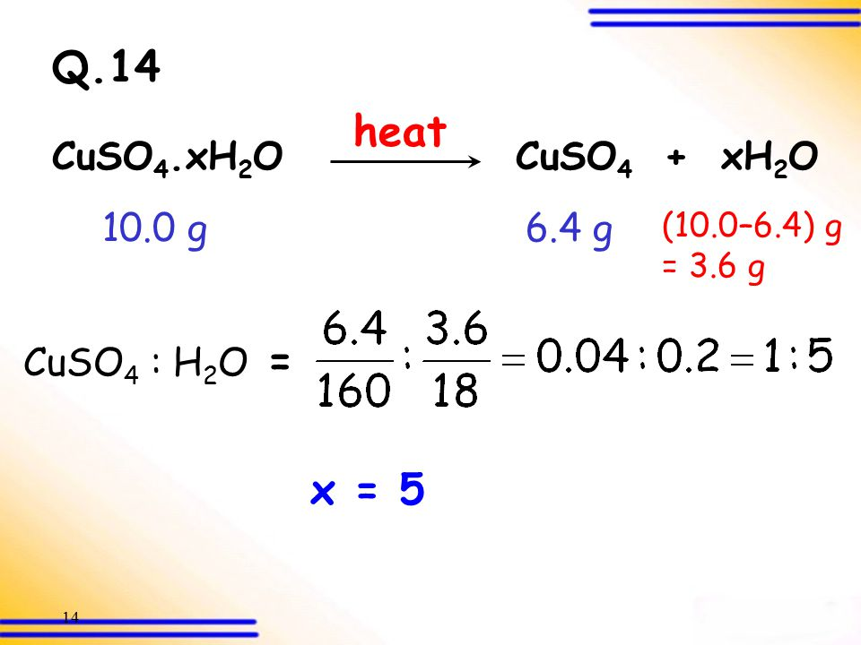 13 3.2 Derivation of empirical formulae (SB p.45) Example 2 Q.14 Water of Crystallization Derived from Composition by Mass Example 3-3C Example 3-3C C