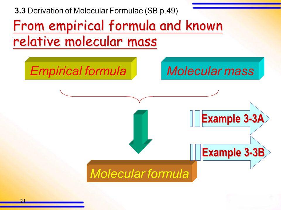 20 What is molecular formulae? Molecular formula = (Empirical formula) n 3.3 Derivation of molecular formulae (SB p.49)