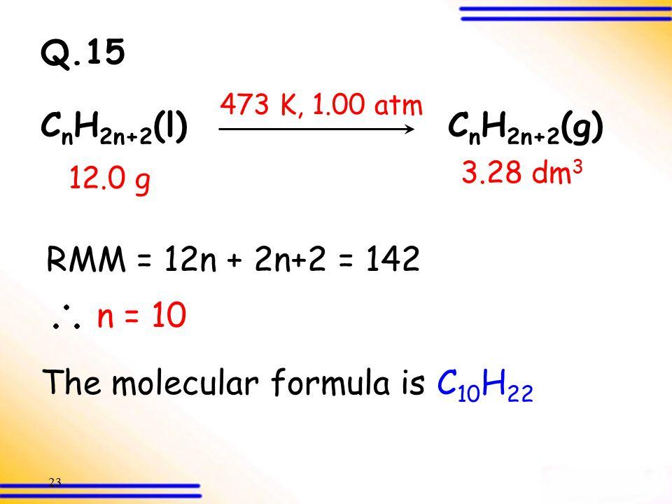22 Q.15 = 142 g mol  1 Relative molecular mass = 142 C n H 2n+2 (l) C n H 2n+2 (g) 12.0 g 3.28 dm 3 473 K, 1.00 atm