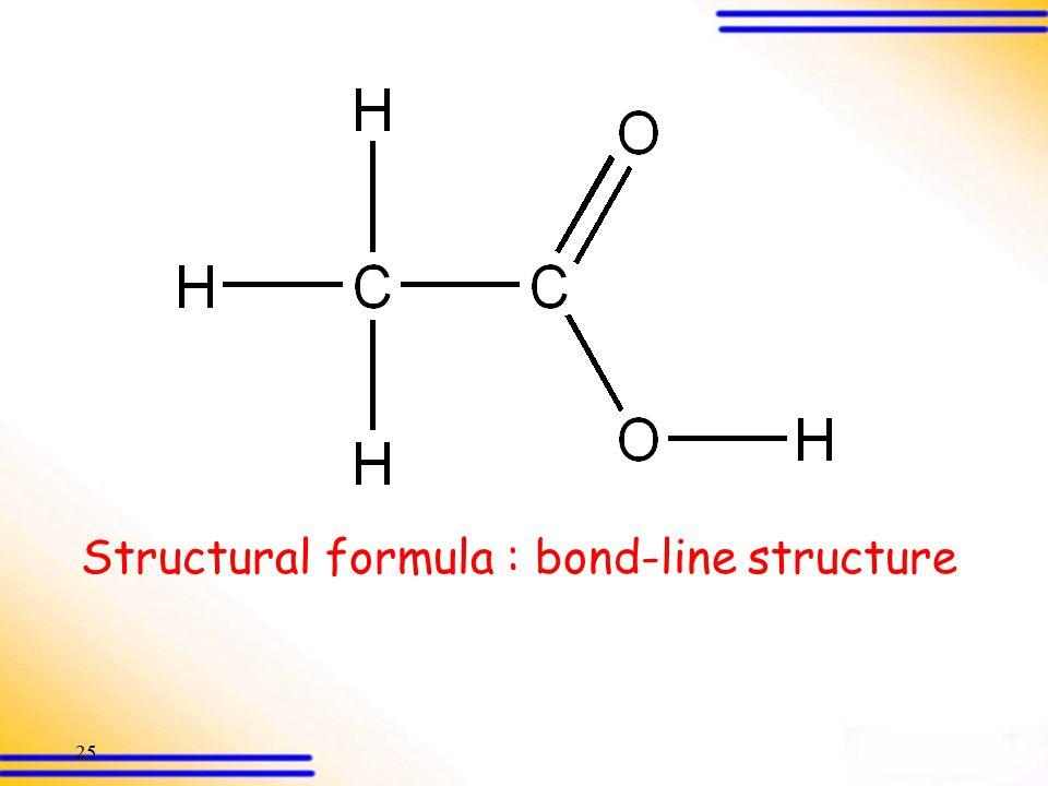 24 Ethanoic acid C, H, O are present Qualitative Analysis Quantitative Analysis Empirical formula CH 2 O Structural formula CH 3 COOH IR, NMR, MS Dete