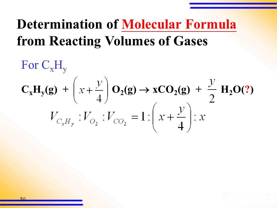 49 Gay Lussac's law a A(g) + b B(g)  c C(g) + d D(g) At fixed T & P