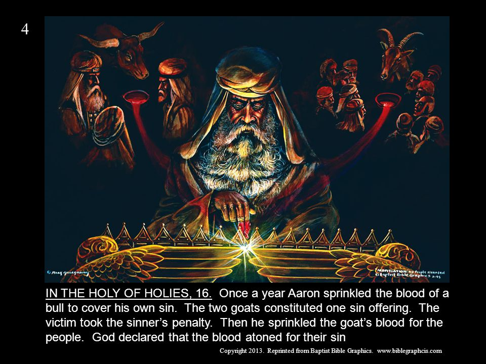 IN THE HOLY OF HOLIES, 16. Once a year Aaron sprinkled the blood of a bull to cover his own sin.