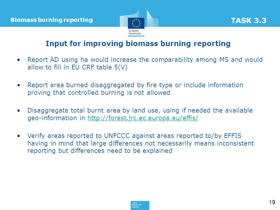 Input for improving biomass burning reporting Report AD using ha would increase the comparability among MS and would allow to fill in EU CRF table 5(V) Report area burned disaggregated by fire type or include information proving that controlled burning is not allowed Disaggregate total burnt area by land use, using if needed the available geo-information in http://forest.jrc.ec.europa.eu/effis/http://forest.jrc.ec.europa.eu/effis/ Verify areas reported to UNFCCC against areas reported to/by EFFIS having in mind that large differences not necessarily means inconsistent reporting but differences need to be explained 19 Biomass burning reporting TASK 3.3