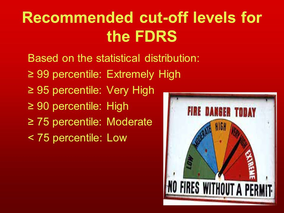 Recommended cut-off levels for the FDRS Based on the statistical distribution: ≥ 99 percentile: Extremely High ≥ 95 percentile: Very High ≥ 90 percentile: High ≥ 75 percentile: Moderate < 75 percentile: Low