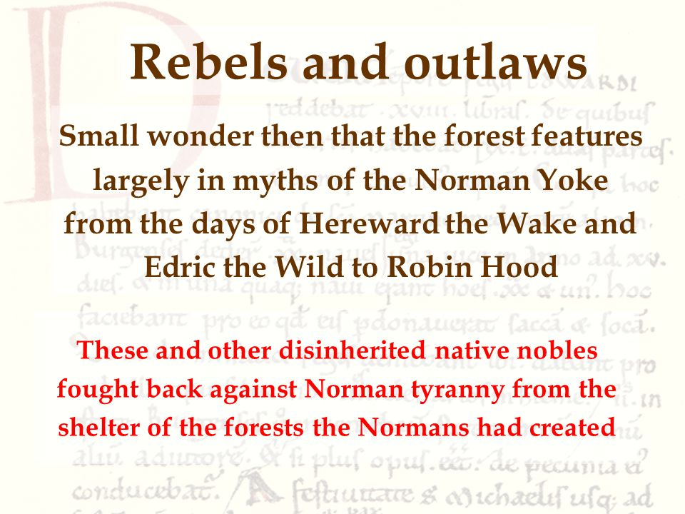 These and other disinherited native nobles fought back against Norman tyranny from the shelter of the forests the Normans had created Rebels and outlaws Small wonder then that the forest features largely in myths of the Norman Yoke from the days of Hereward the Wake and Edric the Wild to Robin Hood