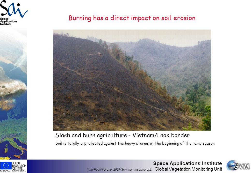 Space Applications Institute (jmg/Publi/Varese_2001/Seminar_Insubria.ppt) Global Vegetation Monitoring Unit Burning has a direct impact on the vegetation cover type and condition, with deep impact on the biodiversity Bolivia (Amazon Basin) Suriname Maintenance of a given habitat Destruction of the habitat