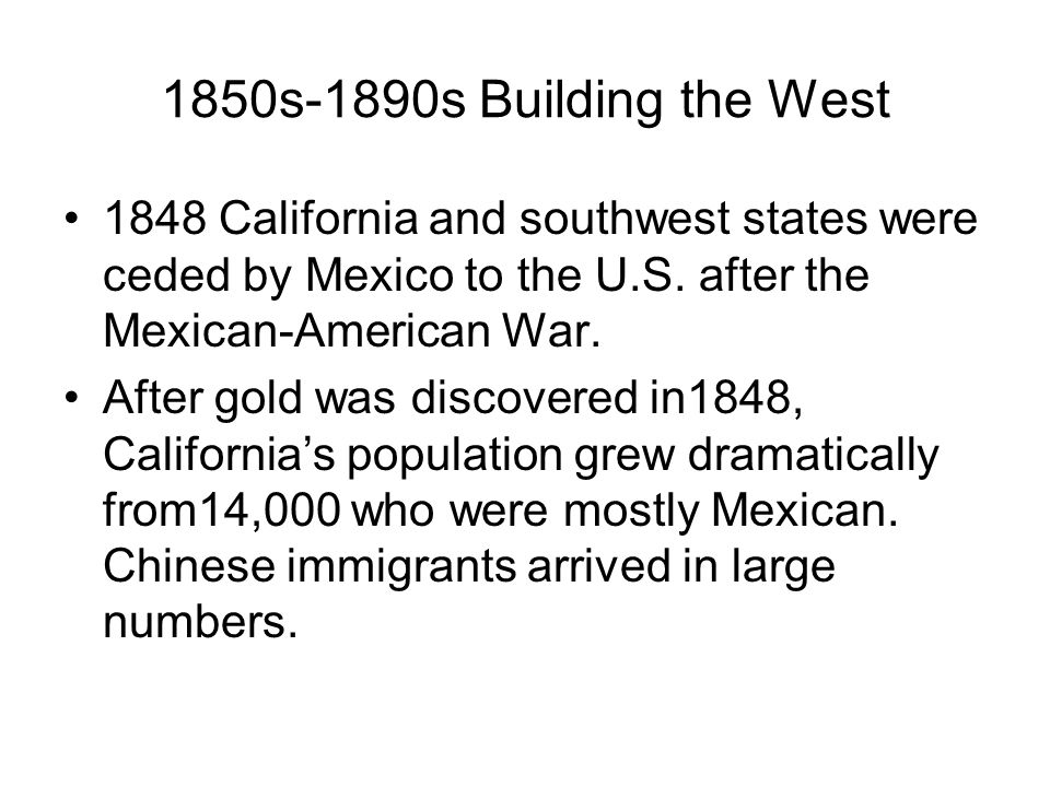 Asian American Economic Contributions 1850s-1880s Chinese immigrants were employed as the main source of labor for building California and the western states' public works infrastructure and industries such as mining, agriculture, fishing, railroad-building, and manufacturing, etc.