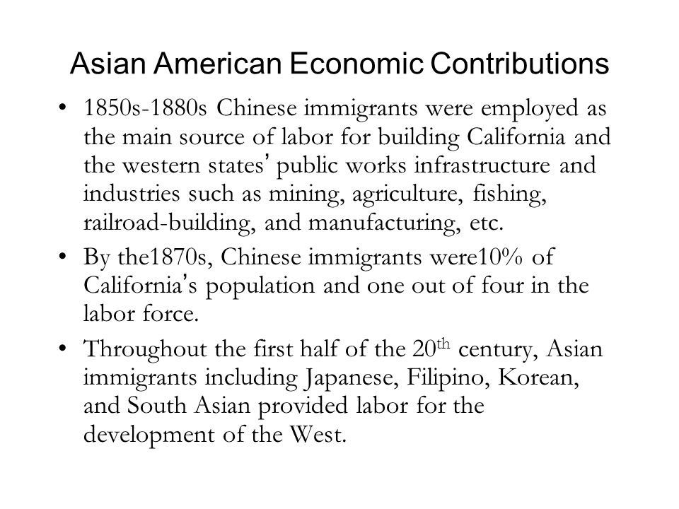 Chinese Economic Contributions (1850s-1890s) MINING: 24,000 Chinese miners in 1860's.