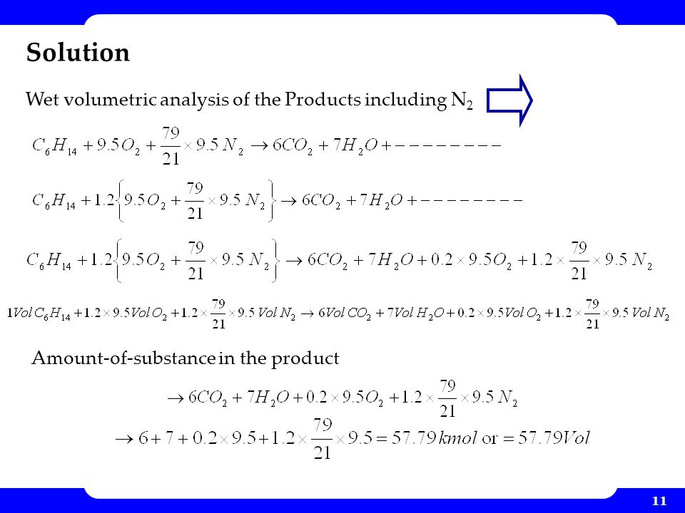 11 Solution Wet volumetric analysis of the Products including N 2 Amount-of-substance in the product
