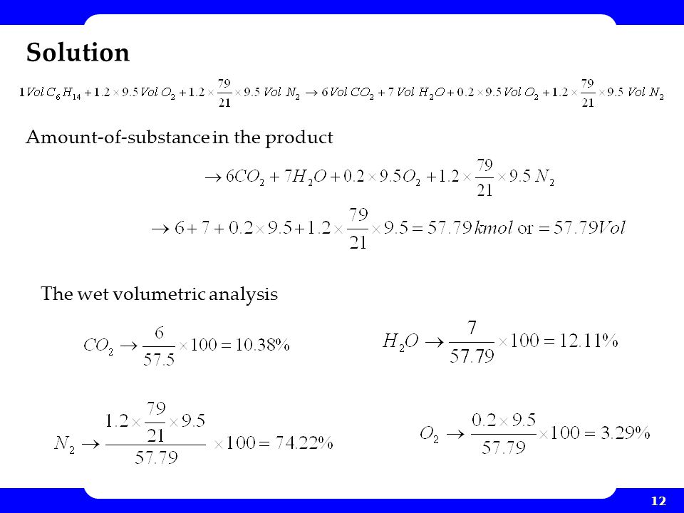 12 Solution Amount-of-substance in the product The wet volumetric analysis