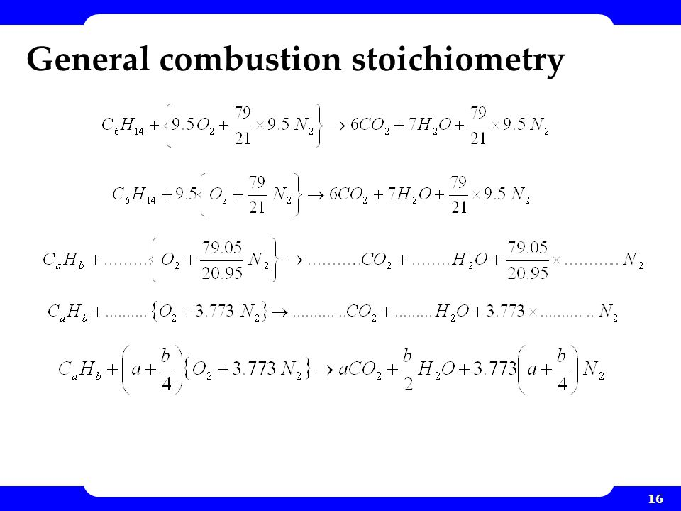 16 General combustion stoichiometry