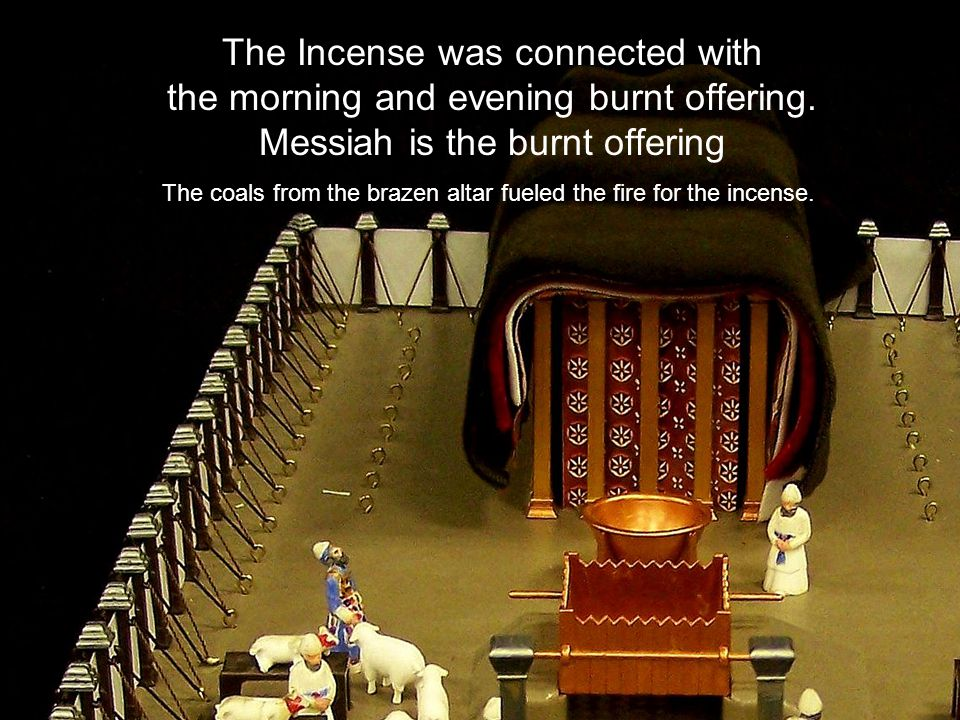 The Incense was connected with the morning and evening burnt offering. Messiah is the burnt offering The coals from the brazen altar fueled the fire f