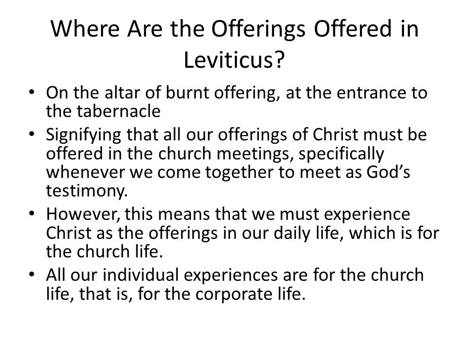 Where Are the Offerings Offered in Leviticus? On the altar of burnt offering, at the entrance to the tabernacle Signifying that all our offerings of C