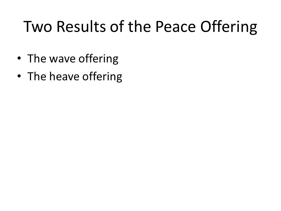 Two Results of the Peace Offering The wave offering The heave offering